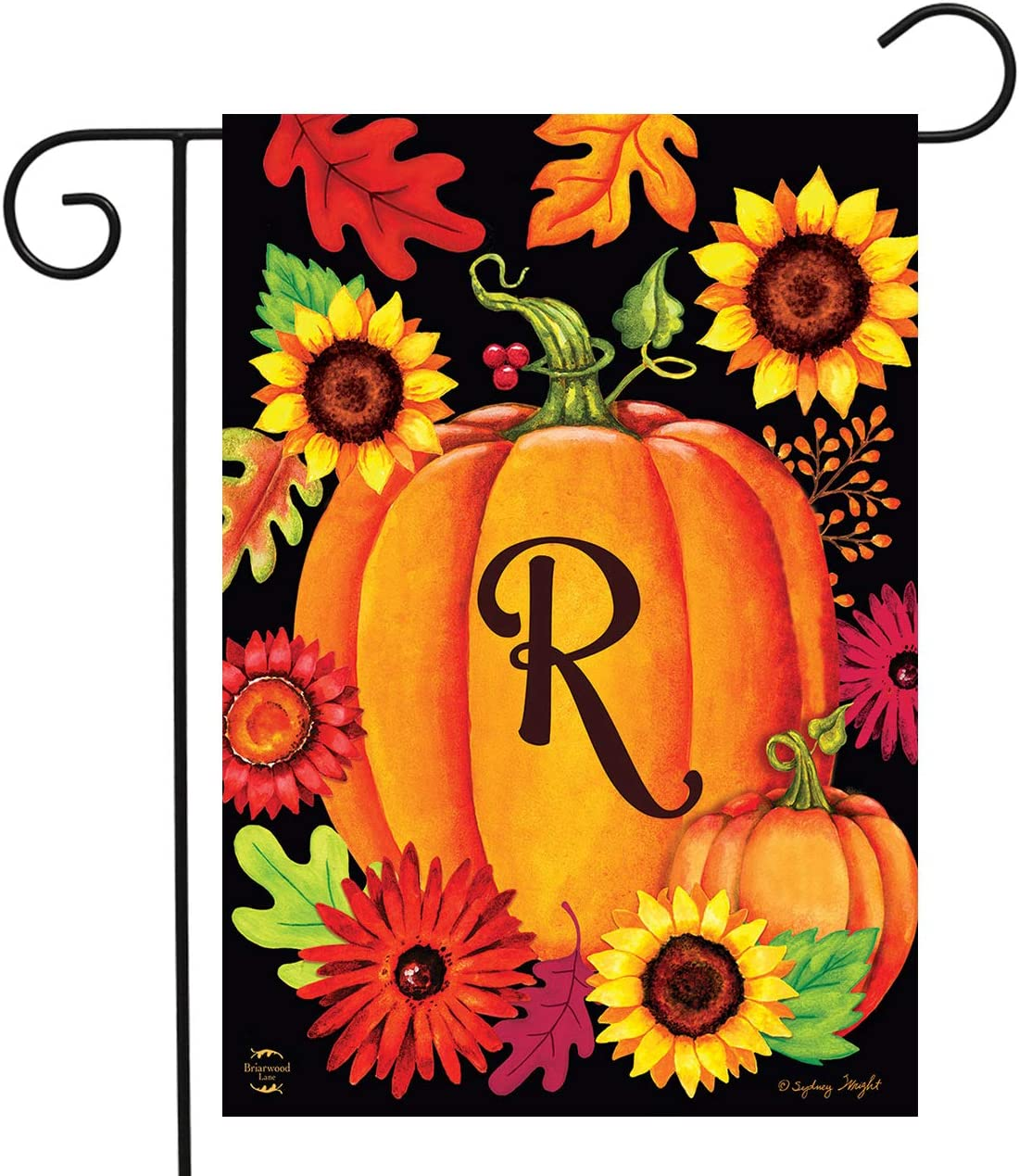 "Briarwood Lane Fall Pumpkin Monogram Letter R Garden Flag 12.5"" x 18"""