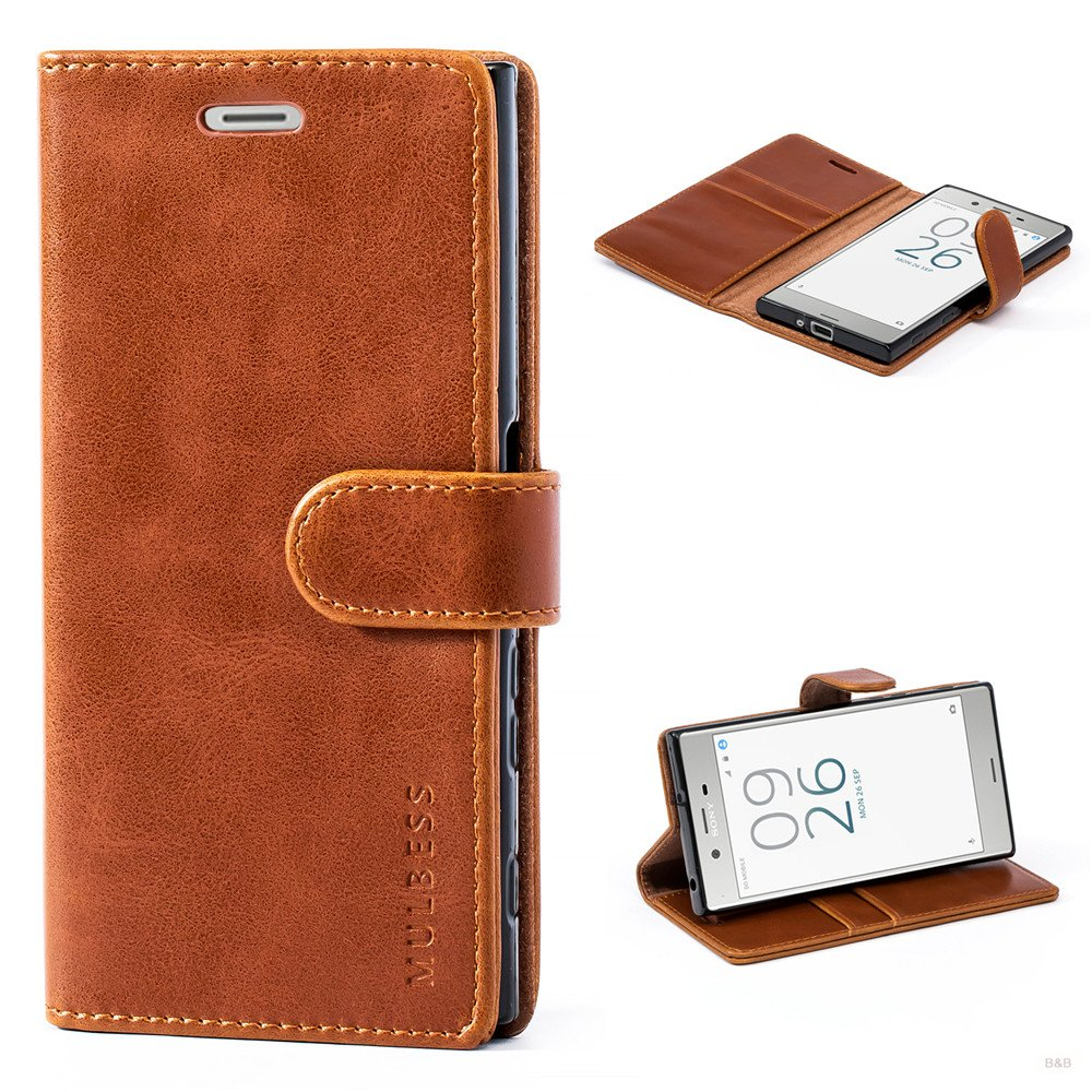 Mulbess Book-Style Leather Wallet Case,Flip Cover with Magnetized Closure, Card Slots Money Pouch and Stand Feature for Sony Xperia XZ,Brown