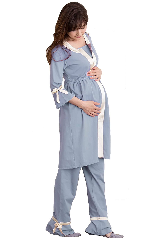 Sweet Mommy マタニティパジャマ シルクリボンパイピング 授乳レイヤー ブルー M B07143LK6K M|ブルー ブルー M