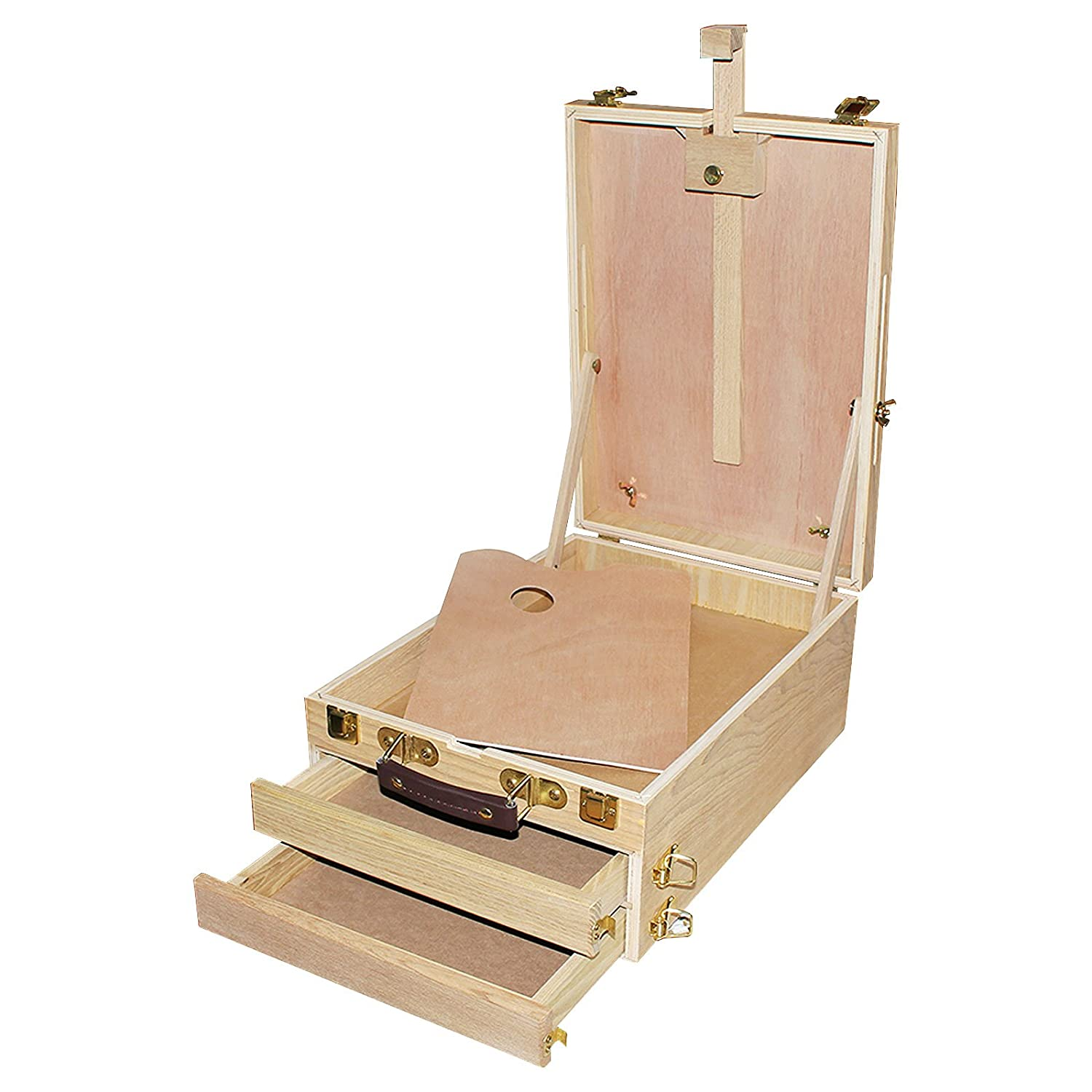 Artists Wooden Box Easel / Table Box Easel with Storage Compartment by Kurtzy - Folding Table Top Easel with 2 - Storage Compartment for Drawing Painting Table Box MA-4009