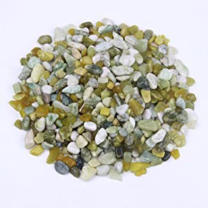 Crystal and Gemstone Rocks for Plants, Succulents, Fairy Garden Big 3lb Bulk Bag – 10-15mm Natural Tumbled Crushed Jade Pebbles for Decorating Bonsai Trees, Zen Garden, Succulent Plants
