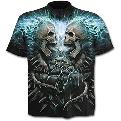 Spiral Direct für Männer flammenden Wirbelsäule Schwarz T-Shirt ...