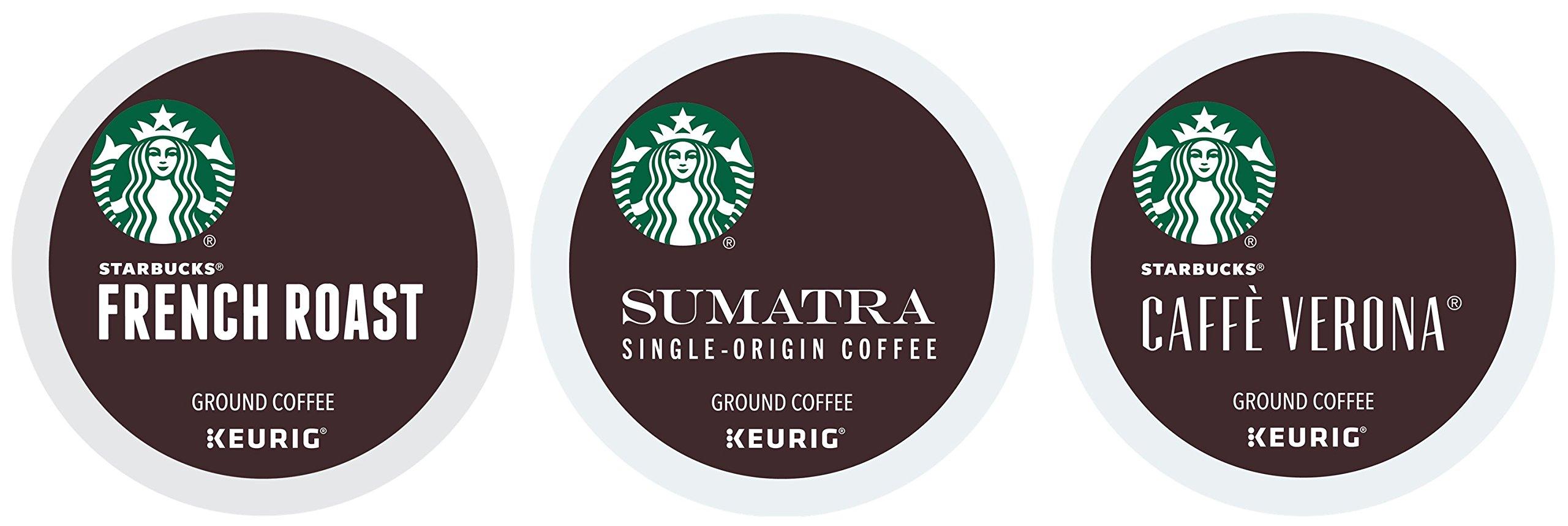 Starbucks Variety Coffee K-Cup Featuring 3 Dark Roast for Keurig Brewers - French Roast, Sumatra, Caffe Verona LfBDre, 4Pack (144 Count)