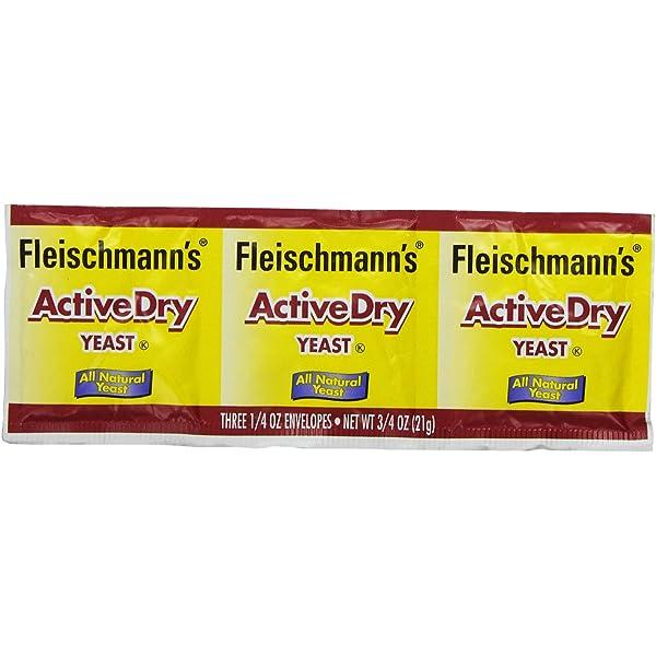 Amazon Com Fleischmann S Yeast Active Dry 0 75 Ounce Packet Pack Of 9 Fleishmann S Bakers Yeast Packets Grocery Gourmet Food