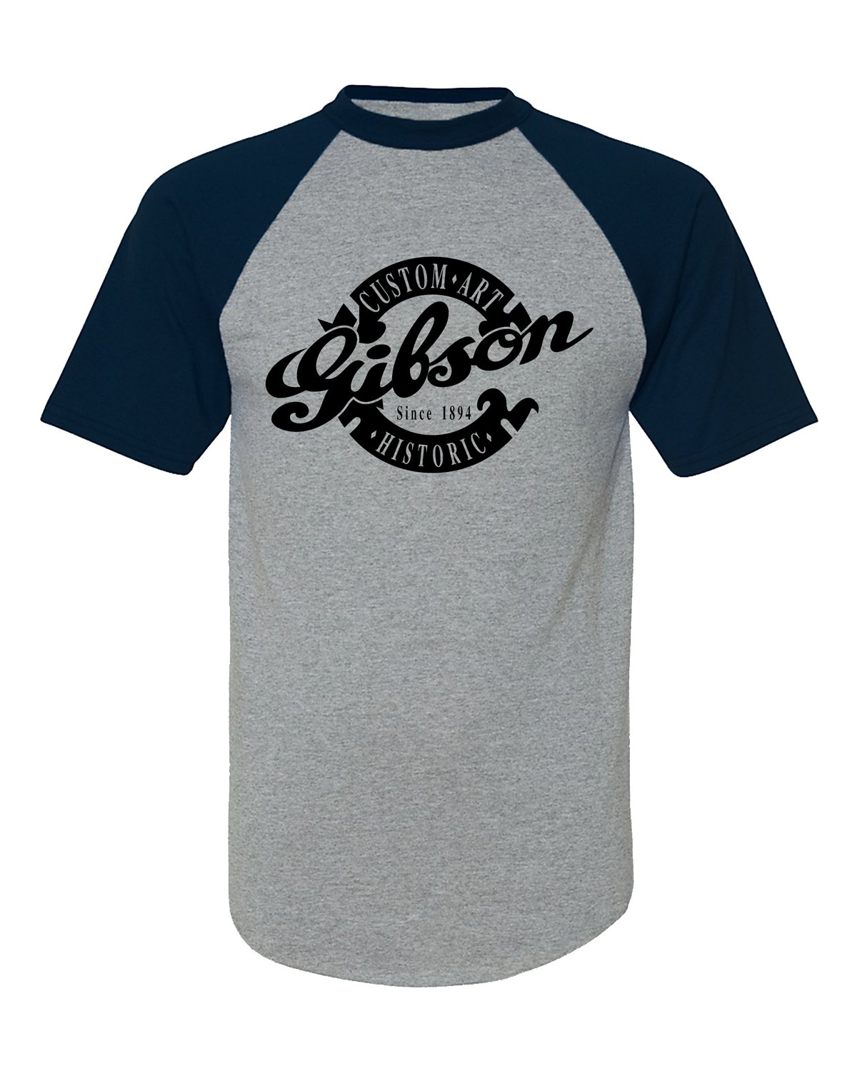 Amazon Gibson Custom Art Historic Guitar Logo Baseball Tee