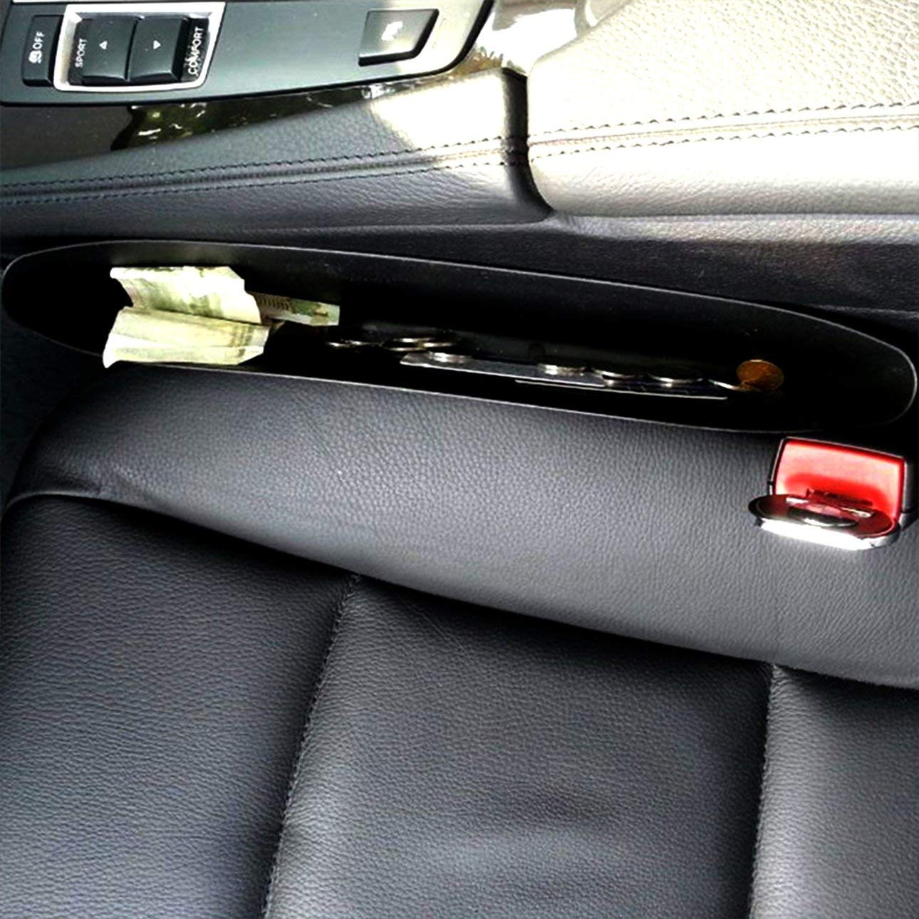 Migvela Black Car Storage Box Gap Filler Plastic Console Pocket Organizer Interior Accessories Car Seat Side Drop Caddy Catcher