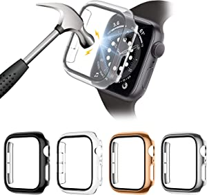 Liwin 4-Pack PC Case with Tempered Glass Screen Protector Compatible with Apple Watch Series 6 / SE / 5/4 40mm, HD Hard PC Protective Cover for iWatch Series 6 SE (40mm, Black/Clear/Rosegold/Silver)