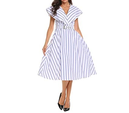 Zcaosma Women Dress Striped Midi Swing Vintage Belt Wide Lapel Sleeveless 50S 60S Robe Slim Dresses