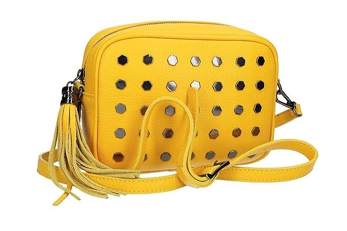 539742d419 Borsa donna a tracolla PIERRE CARDIN giallo in pelle Made in Italy VN1550:  Amazon.it: Abbigliamento