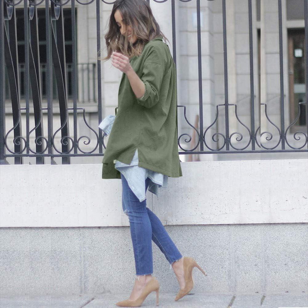 Solid Cardigan,Autumn Women Long Sleeve Side Slit Parka Green Jacket Thin Coat New