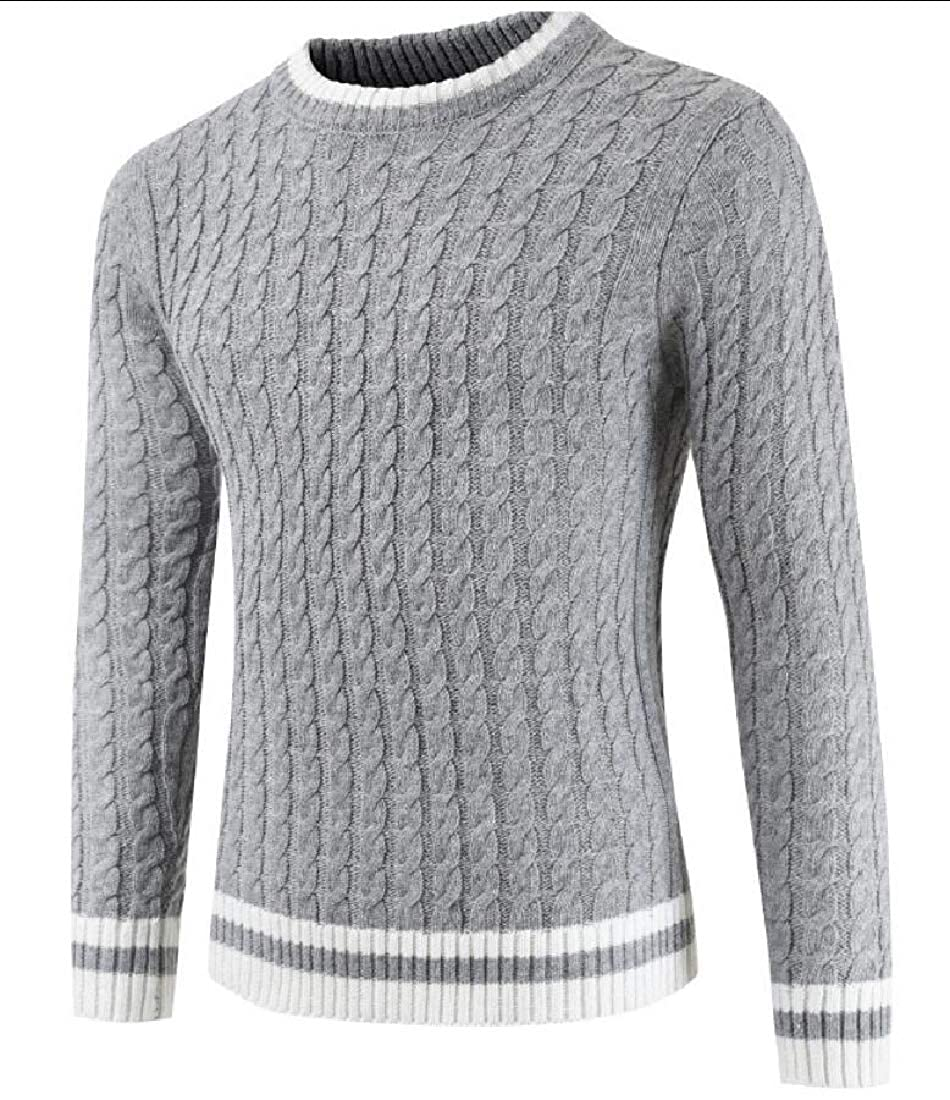 HTOOHTOOH Men Winter Crew Neck Long Sleeve Patchwork Knit Sweater