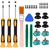 4pcs Replacement Thumbsticks Joysticks Repair Replacement Parts Plating Workmanship T6 T8 T10 Screwdriver Repair Kit with Ful