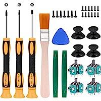 4pcs Replacement Thumbsticks Joysticks Repair Replacement Parts Plating Workmanship T6 T8 T10 Screwdriver Repair Kit…