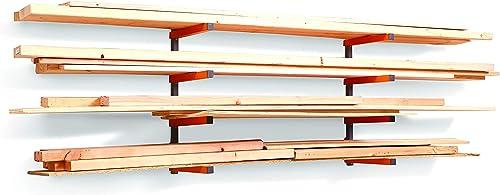 Bora Portamate PBR-004 Wood Organizer Lumber Storage Metal Rack with 4-Level Wall Mount – Indoor Outdoor Use