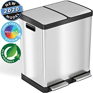 iTouchless SoftStep 16 Gallon Step Trash Can & Recycle Bin with Double Odor Control Systems, Stainless Steel, 2 x 8 Gallon (30L) Removable Color-Coded Buckets, Soft Close and Airtight Seal