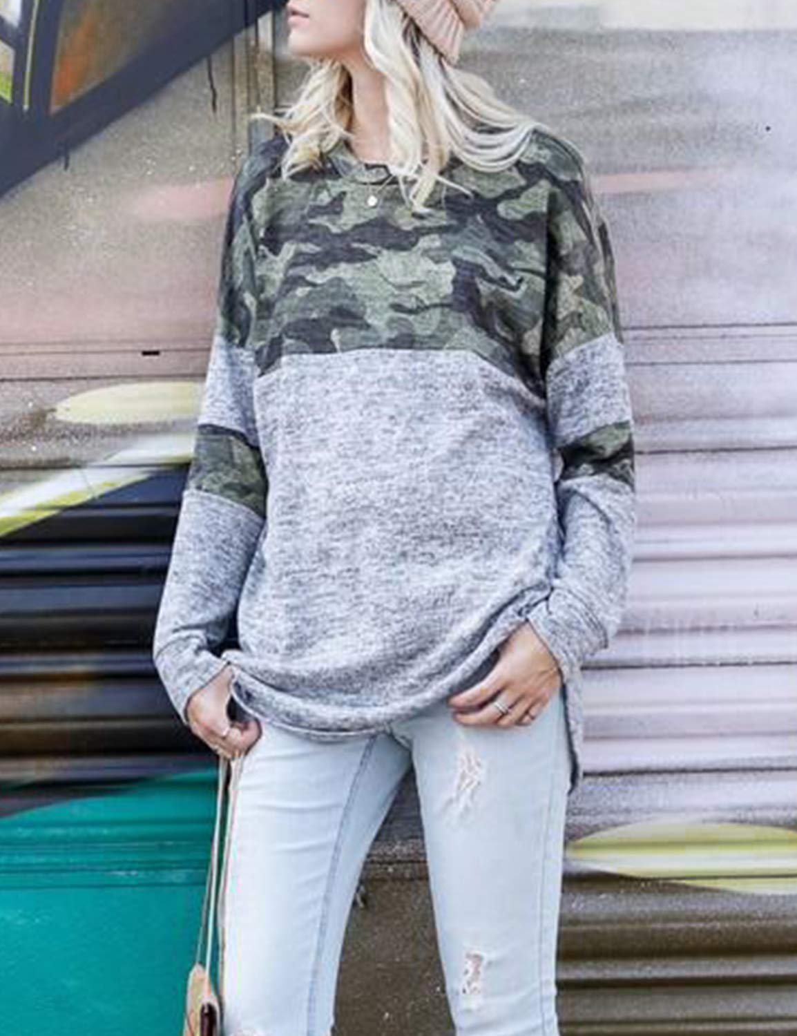 Blooming Jelly Women\'s Color Block Camo T Shirt Long Sleeve Crew Neck Casual Pullover Top (S, Camouflage)