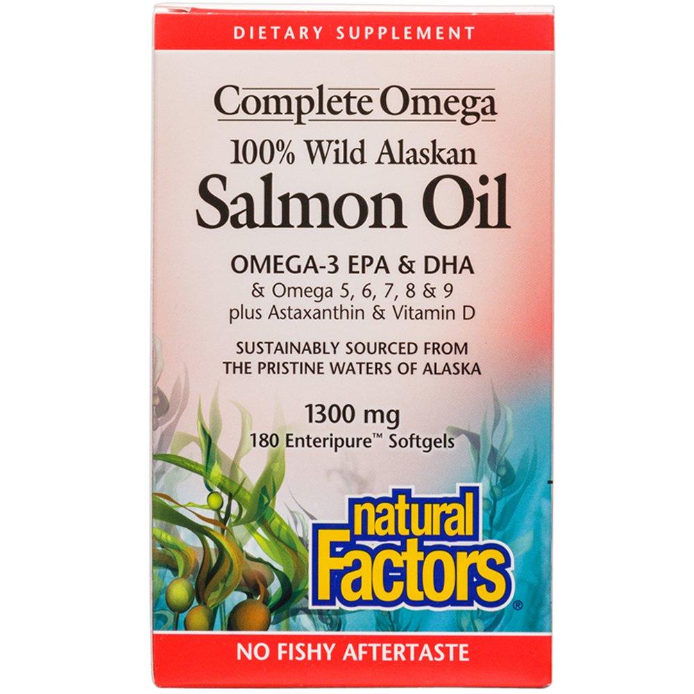 Natural Factors - Complete Omega 100% Wild Alaskan Salmon Oil 1300mg, Rich in Omega-3 Fatty Acids, 180 Soft Gels