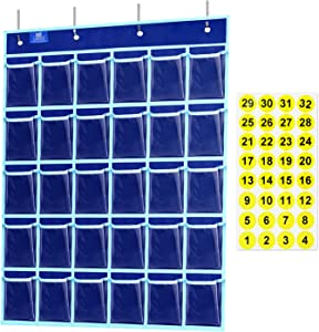 Gamenote Classroom Pocket Chart for Cell Phones Holder with Number Stickers & Hooks - Calculator Storage Student Wall Pouch for Teacher (30 Clear Pockets, Blue)