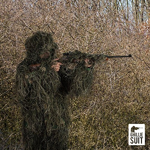 Sack Apron (Full 7 Piece Ghillie Suit With Carrying Bag & Hunting Apron. 3D Woodland Camouflage Design is Lightweight and Breathable and Includes Face Veil and Rifle Wrap Cover. (Adult X-Large))