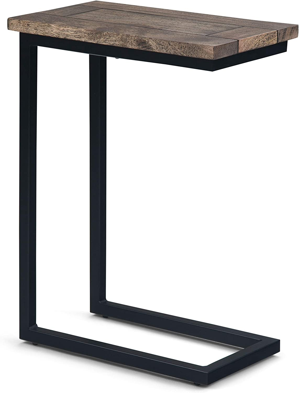 Simpli Home 3AXCSKY-09BH Skyler Solid Mango Wood and Metal 18 inch Wide Industrial C Side Table in Beach Brown, Fully Assembled
