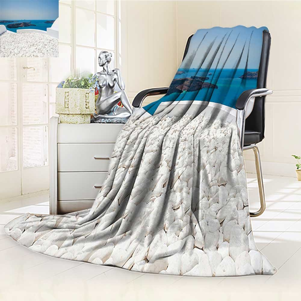 YOYI-HOME Heavy Duplex Printed Blanket Travel Hotel with White Stones Santorini Island Greece Landscape with Sea Turquoise and White Anti-Static,2 Ply Thick,Hypoallergenic/W47 x H31.5