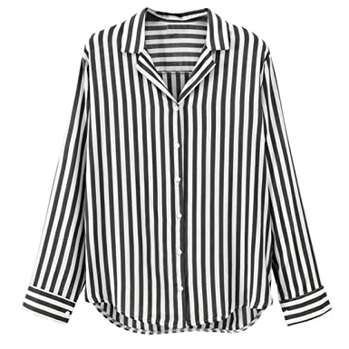 0eec17bdb04e3 Paymenow Womens Long Sleeve Shirts Fashion V Neck Button up Stripes Blouse  Casual Office