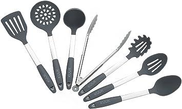 Kuuk Kitchen Utensil Set   BPA Free   Stainless Steel U0026 Silicone   7 Pieces