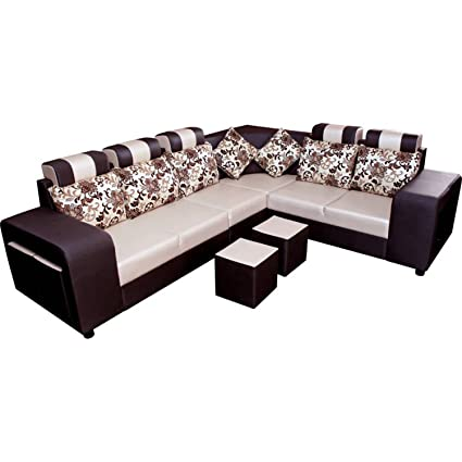 Funterior 6 Seater L-Shape Sectional Sofa Set With Puffy Dark Brown ...