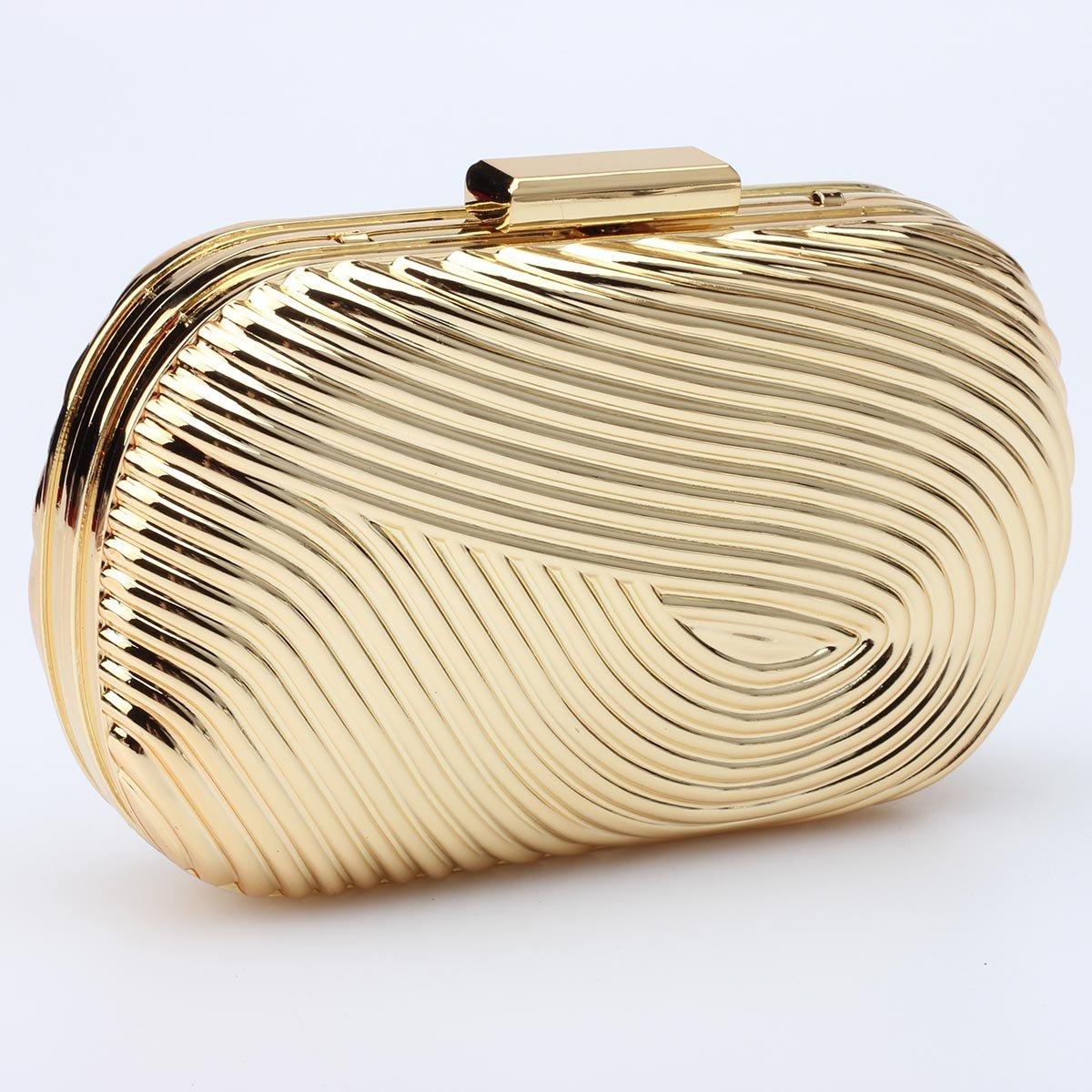 Mogor Womens Hard Case Alloy Chain Strap Fashion Handbag Clutch Gold