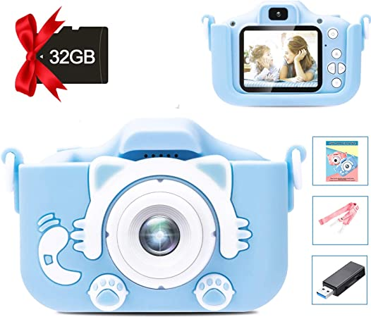 Kids Camera Digital Dual Camera Toys Gift For 3 8 Years Old Kids Video Recorder Anti Drop Cartoon Camera With 2 Inch Ips Screen 32gb Sd Card Blue Leambe Amazon Ca Toys Games