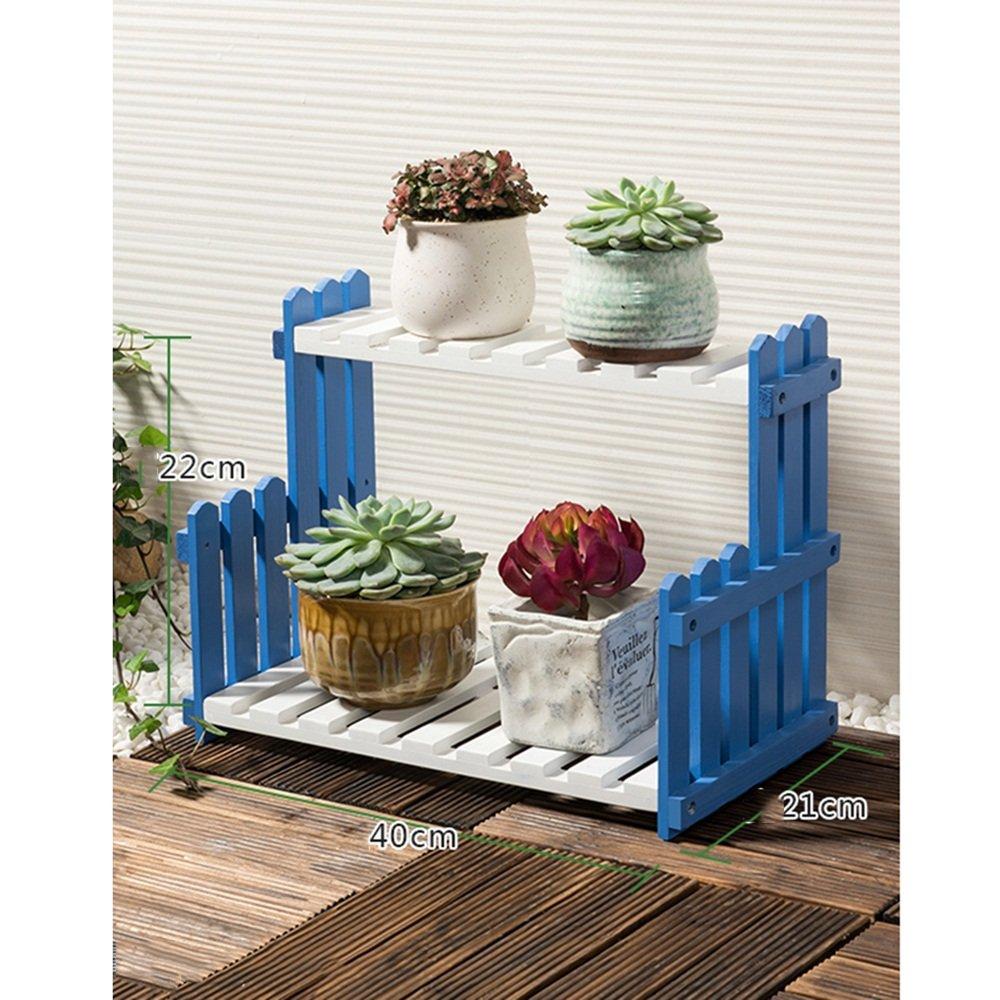 Brisk-Rack di fiori- Flower Stand 2 Tier in legno massello per soggiorno Balcone Flooring Pot Rack Mensola per piante interna ( dimensioni   4022cm )