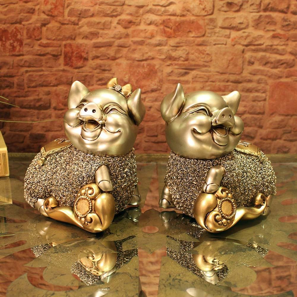 WWQY European wedding gift couple pig resin animal ornaments creative home decorations auspicious gifts 19 13 19/19 13 19 , 191319/191319 by WWQY home (Image #2)