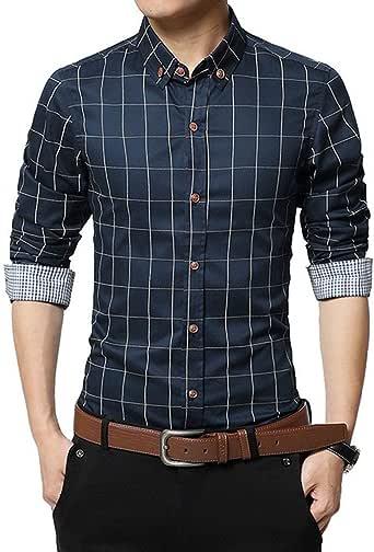 FAMILIZO Camisas Hombre Manga Larga Slim Fit Camisas Hombre Lino Camisas Hombre Originales Tops Blusa Hombre Blanca Otoño Casual Formal Slim Button-Down Cuadros: Amazon.es: Ropa y accesorios