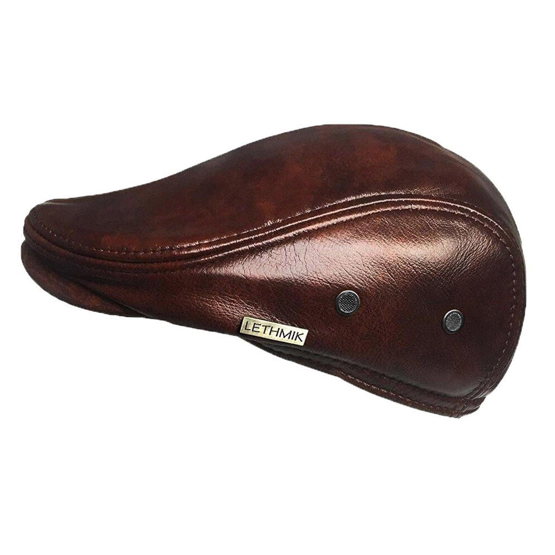 fd08393ef2928 LETHMIK Flat Cap Cabby Hat Genuine Leather Vintage Newsboy Cap Ivy Driving  Cap XXL-Yellow Brown - MZ01713YB   Newsboy Caps   Clothing