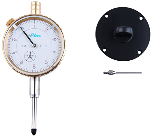 Exclusive 1 Brass Premium Dial Indicator White 1 Total Travel with Flat Back and Needle Contact Point.001 Graduation Steel