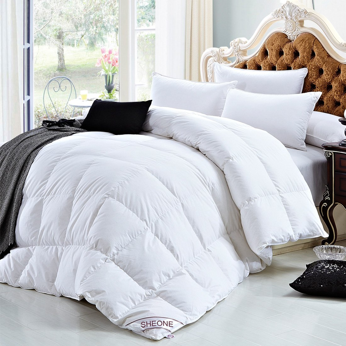 White Goose Down Comforters Queen/Full Size 600 Thread Count 100% Cotton 750 + Fill Power Shell Down Proof-Solid White Hypo-allergenic with Corner Tab
