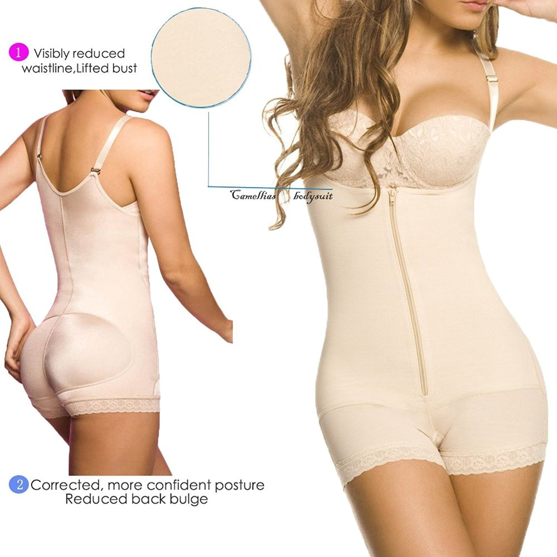 e1edd113e6 SHAPERX Camellias Women Strapless Firm Body Control Bodysuits Panty Latex  Full Body Shaper Thigh Slimmer Shapewear Beige