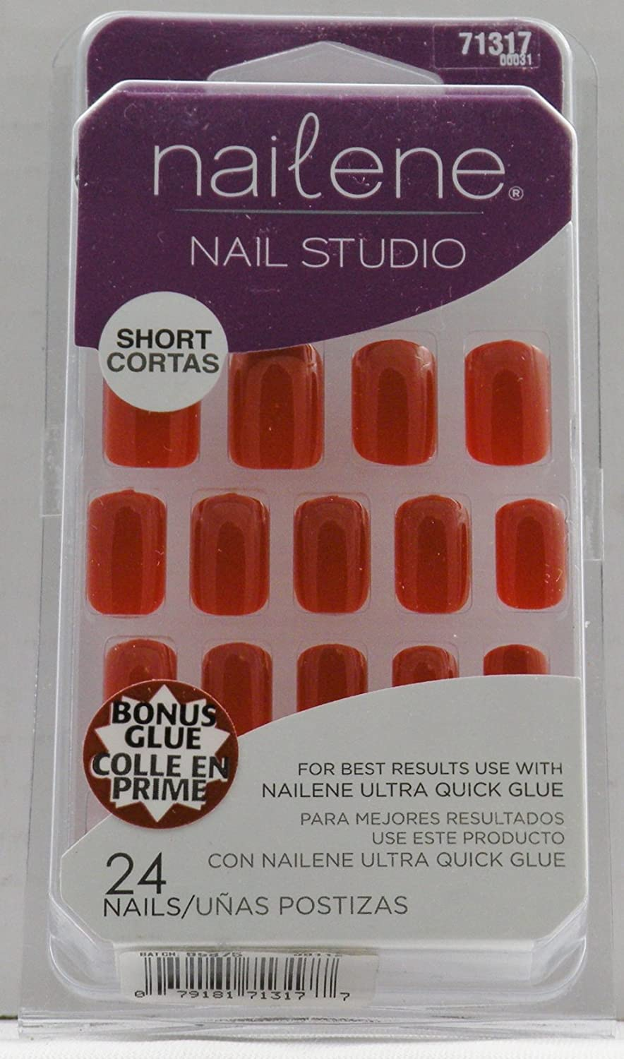 Amazon.com : Nailene Nail Studio Nails - Red (Short) 71317 : False Nails : Beauty