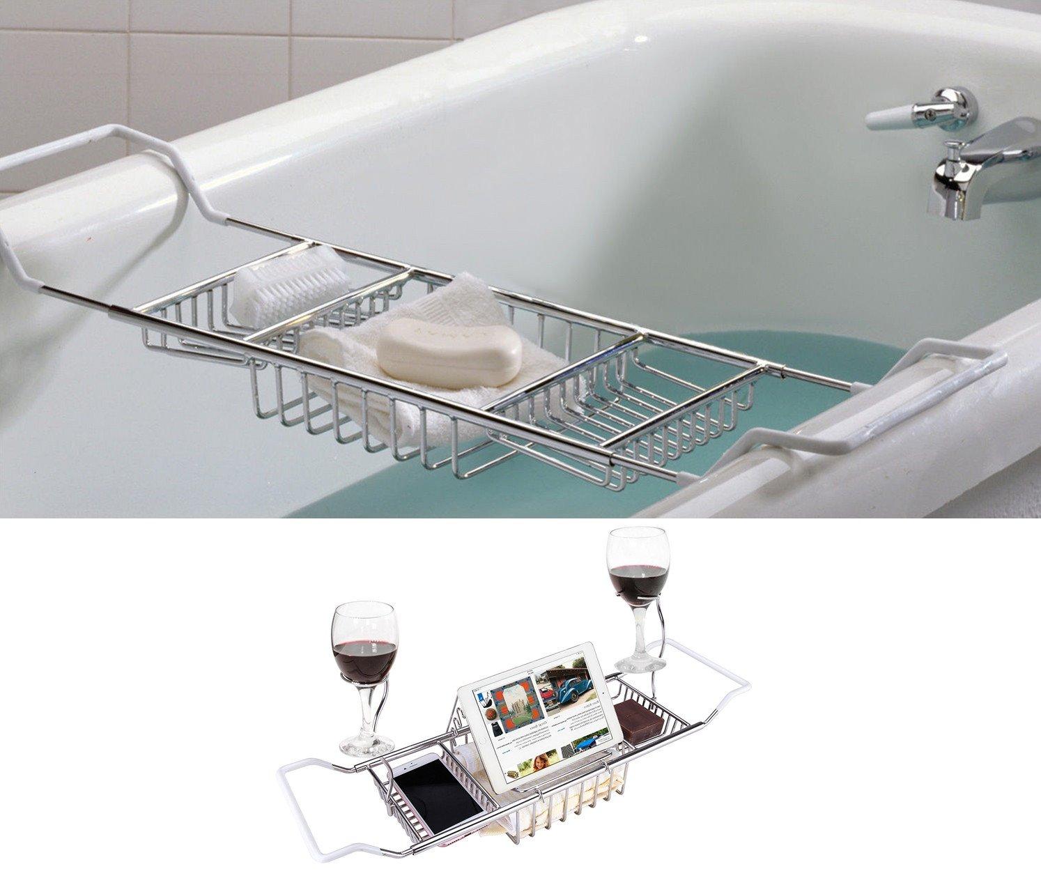 ipegtop Stainless Steel Bathtub Caddy Tray Over Bath Tub Racks ...