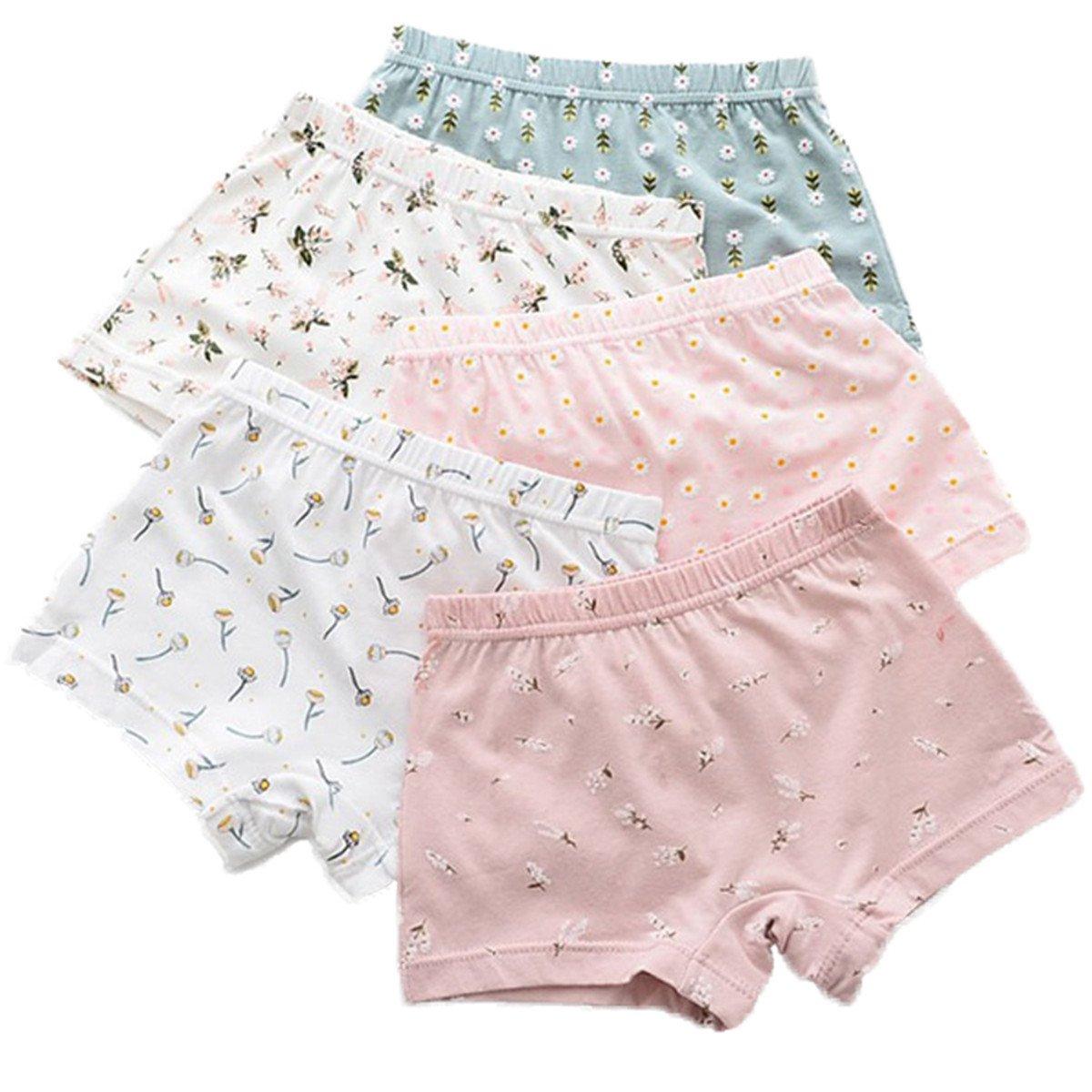 FAIRYRAIN Little Girls Kids 5Pcs Comfortable Cute Cartoon Boy-Leg Knickers Boyshort Underwear Boxers Briefs Panties