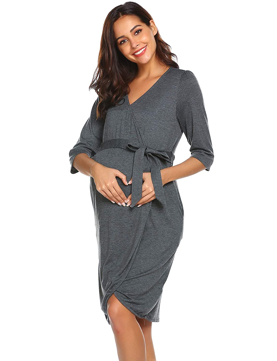 Ekouaer Maternity Nursing Robe Labor Gown Pregnancy Nightgown