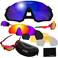 RUZER© Official Cycling Fighter JACKET Driving Sports POLARIZED lens Sunglasses, 5 Interchangeable lens, TR100 FRAME, UV400 Protection, Fishing Driving Running Golf MTB hybrid Glasses Reflective
