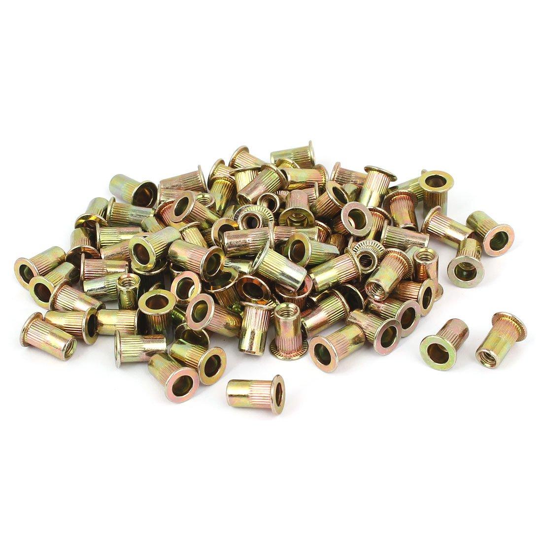 uxcell 8#32 Straight Knurled Rivet Nut Insert Nutsert Bronze Tone 100pcs