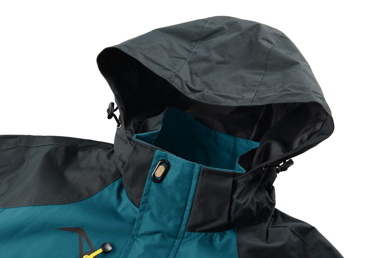 KEFITEVD Mens Waterproof Climbing Jacket Outdoor Lightweight Rain Jackets with Detachable Hood