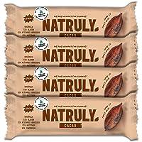 NATRULY Barritas Energéticas BIO Cacao Sin Azúcar Añadido, 100% Natural y Orgánicas, Sin Gluten, Vegana -Pack 4x40g