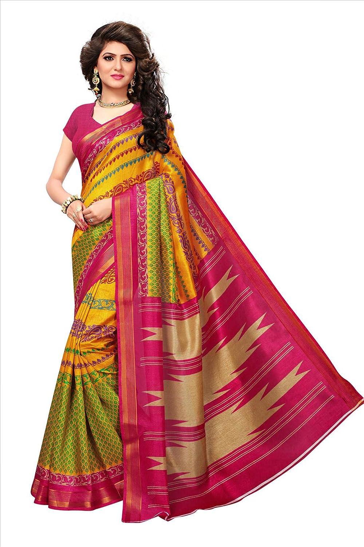 Shonaya Women Multi Colour Bhagalpuri Silk Printed Saree with Unstitched Blouse Piece RTBHZ-8009