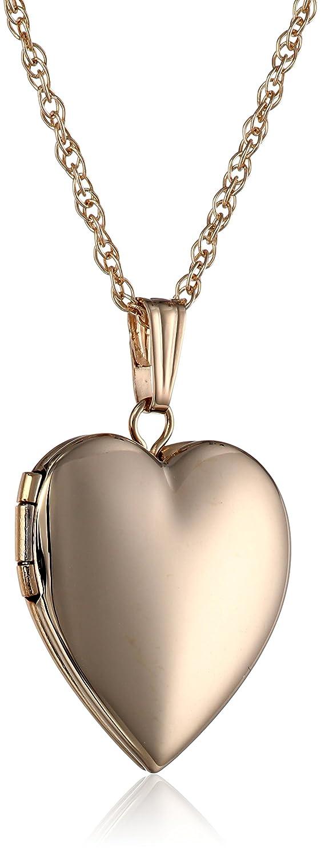 14k Gold Polished Heart Locket Necklace, 18 18 Amazon Collection AMZ635KM