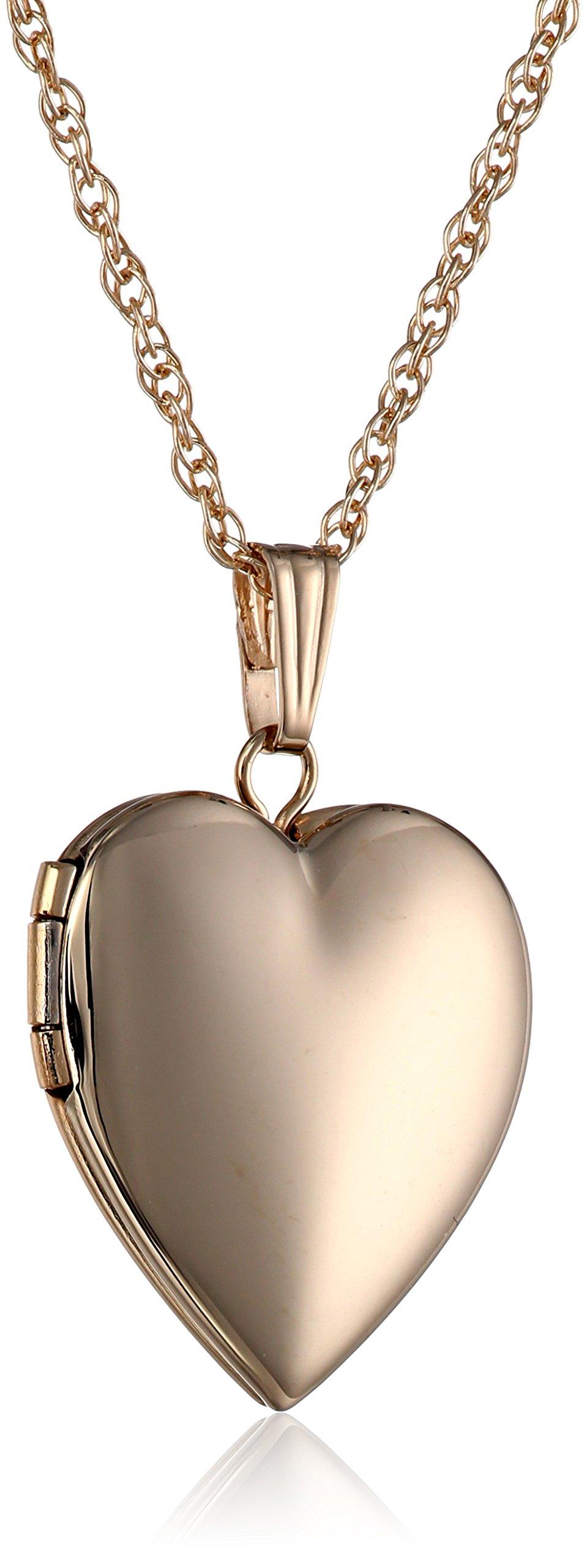 14k Yellow Gold Polished Heart Locket Necklace, 18''