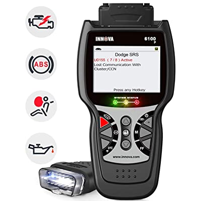 INNOVA 6100P OBD2 Scanner ABS/Airbag/Check Engine Light Code Reader Car Scan Tool with Battery Test and Oil Service Light Reset with Free Pouch for BMW, Chevy, Ford, Mercedes, All Cars: Automotive