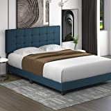 Allewie Queen Size Platform Bed Frame with Adjustable High Headboard/Fabric Upholstered/Square Stitched Style/Box Spring Need